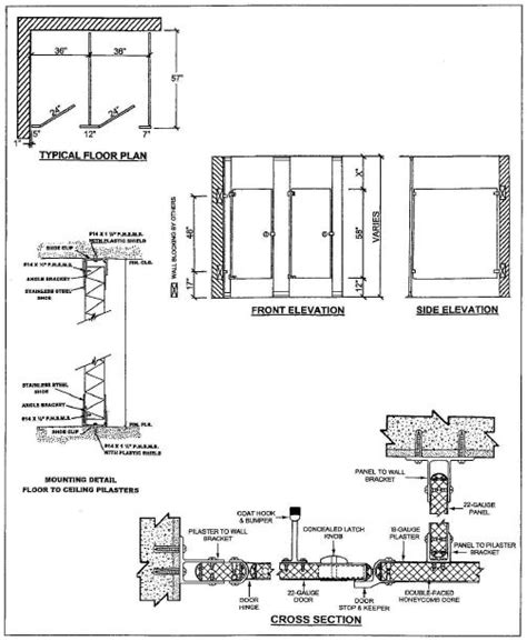 Bathroom Partitions Dimensions by All American Metal