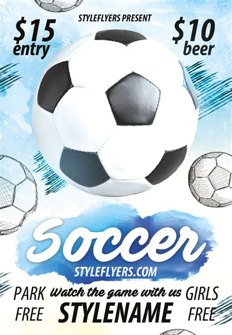 download soccer sports game free flyer template for photoshop