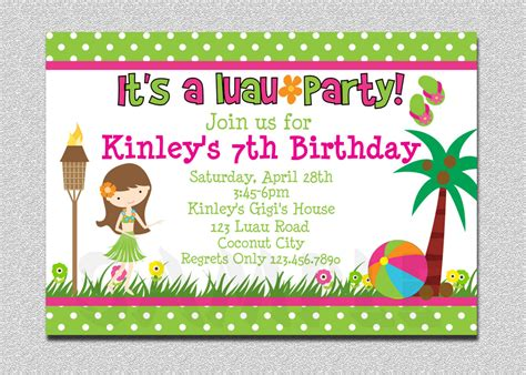 layout for invitation to birthday 20 luau birthday invitations designs birthday party
