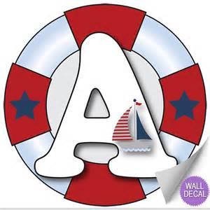 Nautical Themed Boys Room - name wall letters alphabet stickers initial decals boys