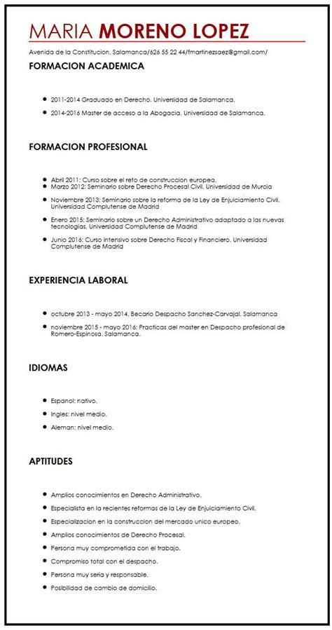Modelo Curriculum Una Pagina Una Pagina De Ejemplo De Cv Muestra Curriculum Vitae