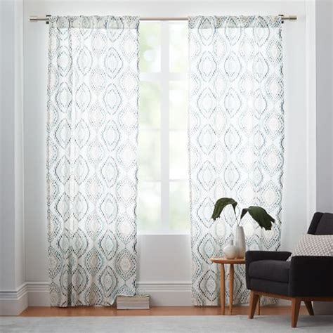 west elm medallion shower curtain cotton canvas mosaic medallion curtain blue lagoon set
