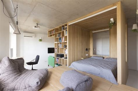 small studio organized   wooden box volume
