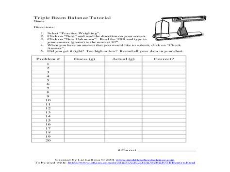 Measuring Mass Beam Balance Worksheet by Reading Beam Balance Worksheet Stinksnthings