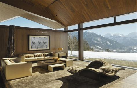 mountain views house with interior gallery modern