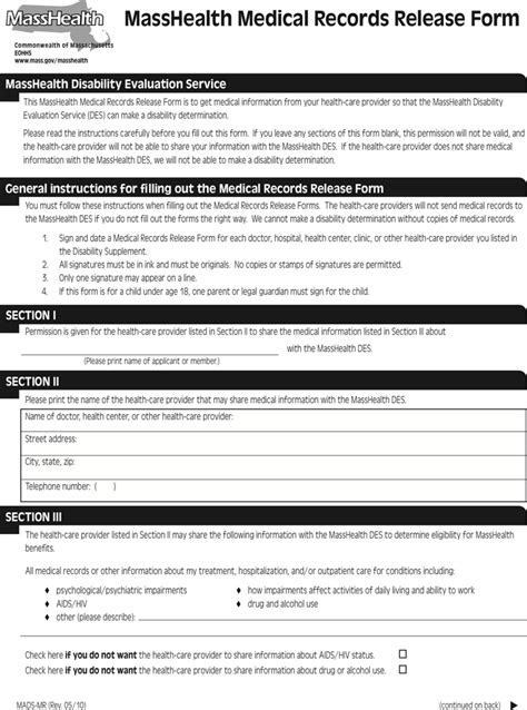 Massachusetts Records Massachusetts Records Release Form 1 For Free Tidyform
