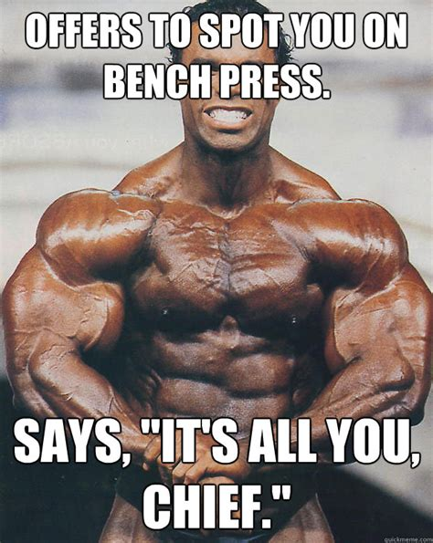 Bench Meme - happy birthday bro casual bodybuilder quickmeme