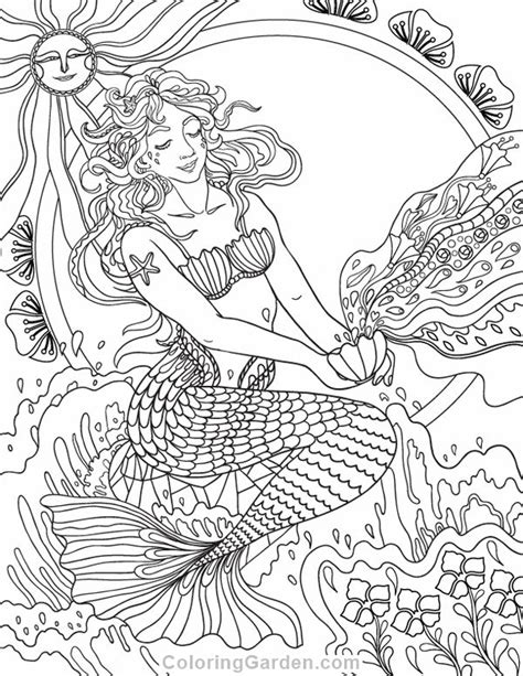 mermaid coloring page for adults 2852 best adult coloring therapy free inexpensive