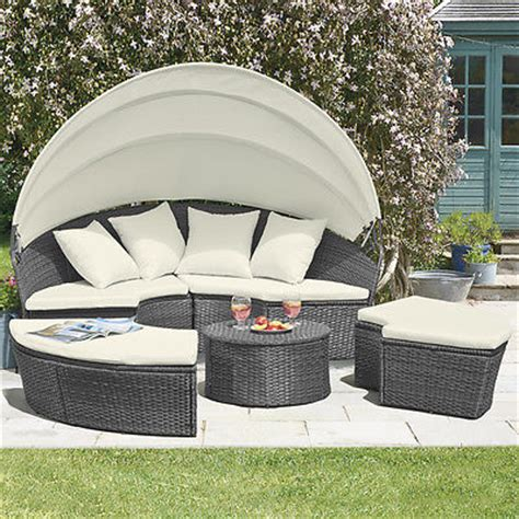 Patio Bed Furniture Rattan Outdoor Garden Patio Day Bed Furniture Lounger Sofa Table Canopy Set Ebay