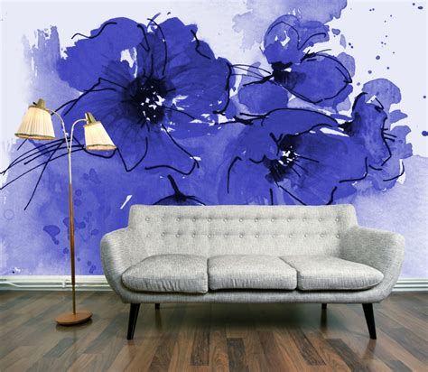 wall mural paper wallpaper wednesday indigo poppy mural by digetexhome