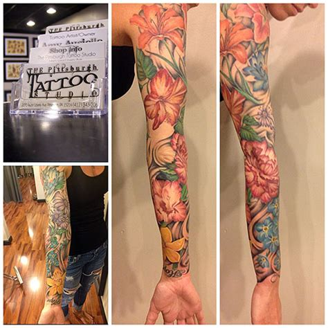 full sleeve of flowers pittsburgh tattoo studio