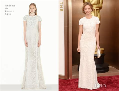 Oscars Carpet Calista Flockhart by Calista Flockhart In Andrew Gn Oscars 2014 Carpet