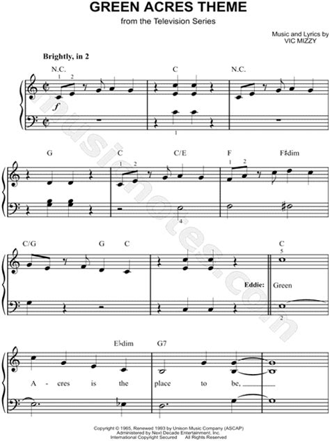 theme song green acres quot green acres theme quot from green acres sheet music easy