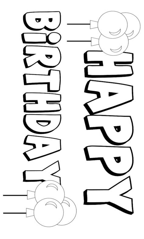 coloring pages of happy birthday signs happy birthday banner coloring pages