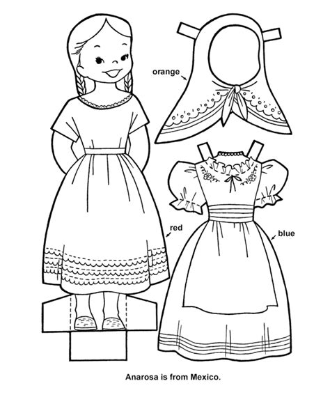 mexican girl coloring page printable cutout paper doll sheet hispanic heritage art