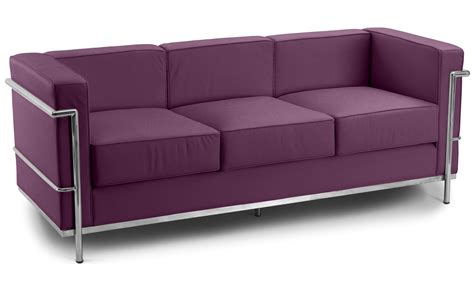 mauve leather sofa corbusier 3 seater sofa faux leather mauve 1960 wide