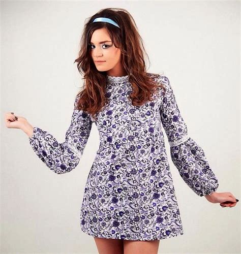 Minidress With Cotton Materials J56903 stunning 70s style mini dress 100 cotton paisley fabric sleeves with puff bottom