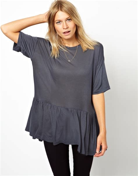 design free asos t shirt asos t shirt in oversize with peplum in gray lyst