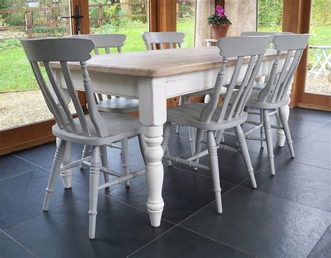 farmhouse table and chairs painted by rectory blue