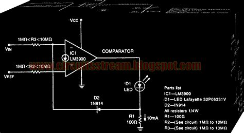 diode comparator circuit simple diode feedback comparator circuit diagram electronic circuit diagrams schematics