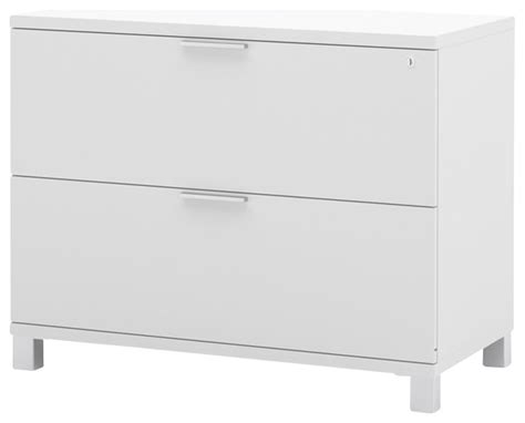 Bestar Pro Linea Assembled Lateral File in White Transitional Filing Cabinets by Cymax
