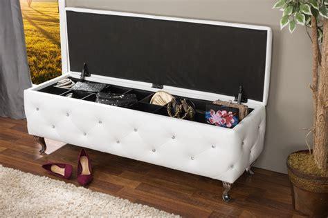 white ottoman storage bench baxton studioseine white leather contemporary storage