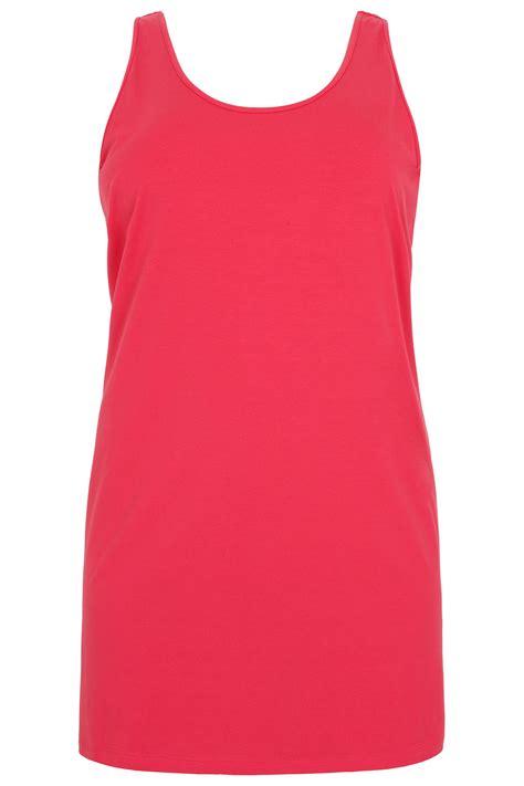 Pink Vest raspberry pink longline vest top plus size 16 to 36