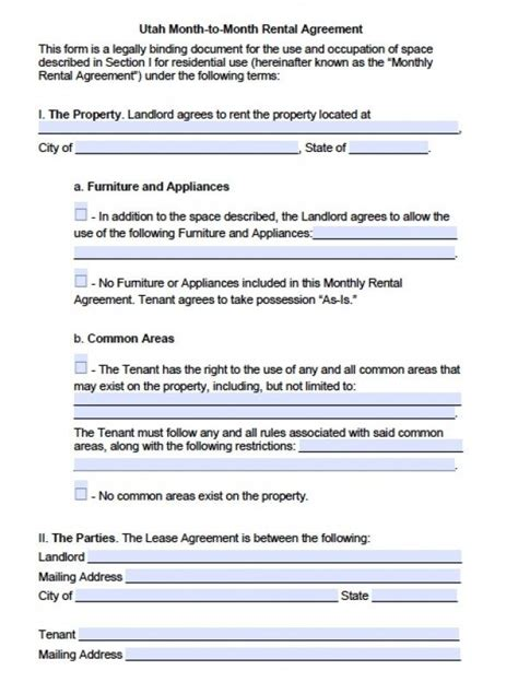 Free Utah Month To Month Lease Agreement Pdf Word Doc Rental Agreement Template Utah
