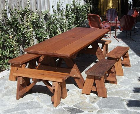 mike    ft picnic table detached benches plans
