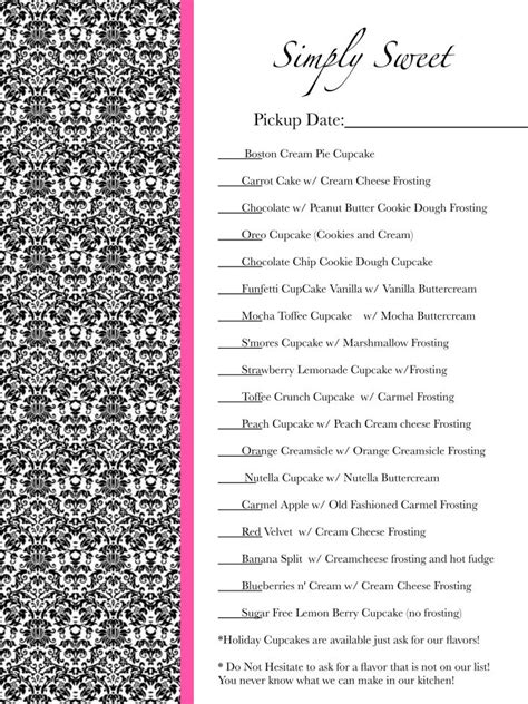 cupcake price list template flavor list cupcake order form we also samoa and
