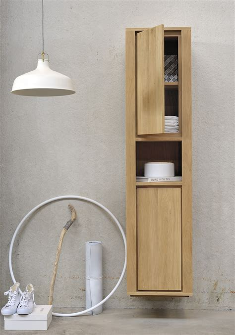 toll suspended solid wood bathroom cabinet with doors oak shadow tall bathroom cabinet by ethnicraft
