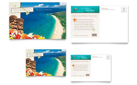 hawaii brochure template hawaii travel vacation postcard template word publisher