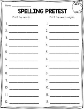 Spelling Pre Post Test Templates With Self Monitoring Checklist Spelling Pretest Template