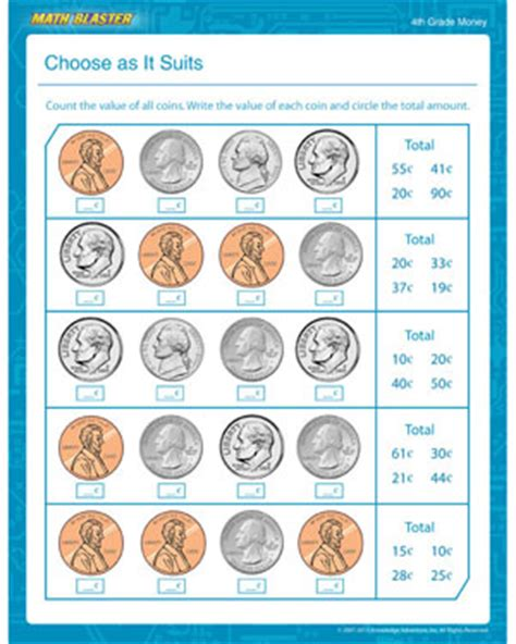 4th Grade Math Worksheets Money by Choose As It Suits Free Printable Money Math Worksheet