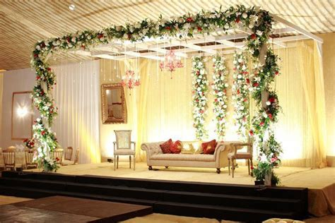 simple baraat wedding day stage wedding decor