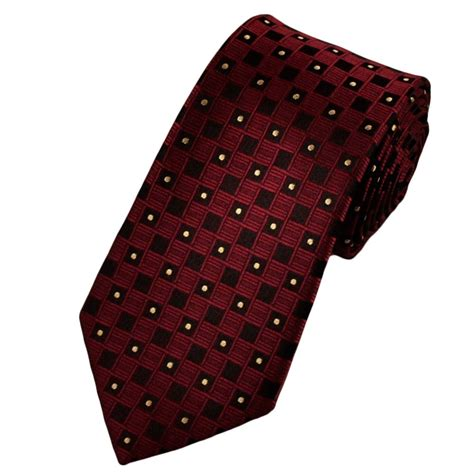 maroon black check with yellow spots boys tie from ties