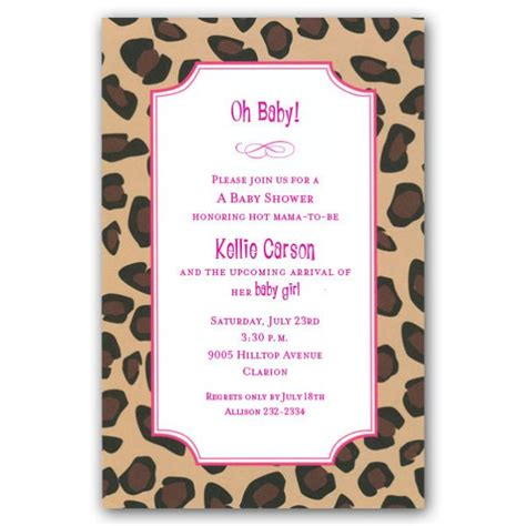 Pink Leopard Print Baby Shower Invitations by Leopard Pink Baby Shower Invitations Paperstyle