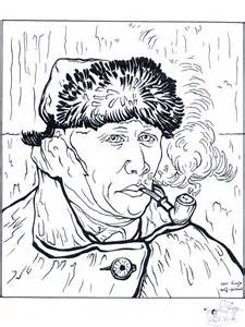 Van Gogh Self Portrait Coloring Page Pages Related  sketch template