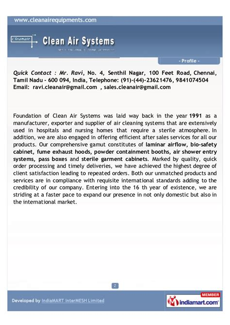 System In Business Mba Notes Madras by Clean Air Systems Chennai Clean Air Systems