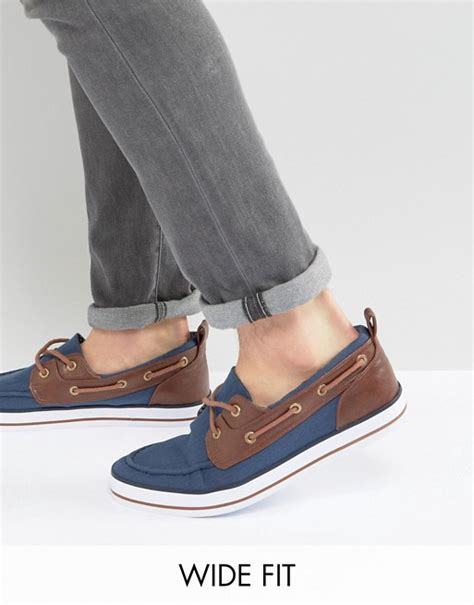 boat shoes fit asos asos wide fit boat shoes in navy
