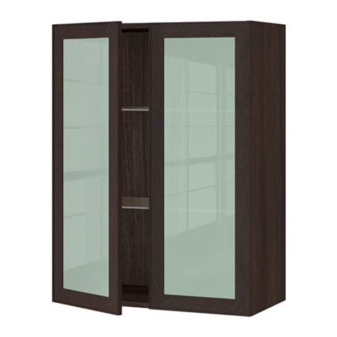 Ikea Kitchen Wall Cabinets With Glass Doors by Sektion Wall Cabinet With 2 Glass Doors Wood Effect