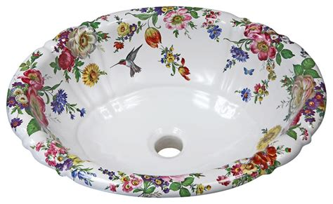 painted bathroom sinks decorated porcelain company scented garden hand painted sink view in your room