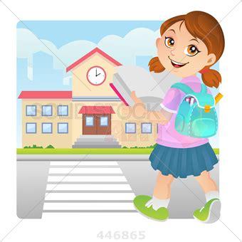 stock illustration of cartoon girl in pink shirt blue