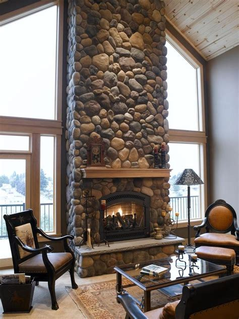 rock fireplaces river rock fireplace mi casa pinterest