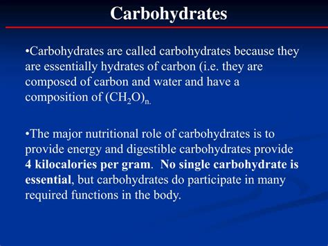 carbohydrates energy per gram ppt overview of carbohydrate digestion and metabolism