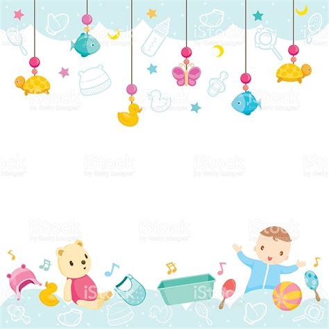 baby cute wallpaper vector baby icons and objects background stock vector art more