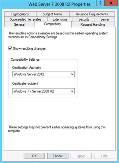 certificate templates not available for windows 7 and