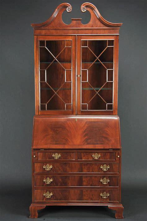 tall mahogany secretary desk with flame mahogany slant lid