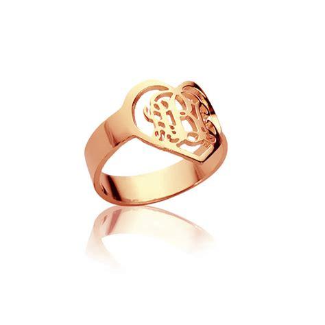36 Gold Script Shape handmade 3 initials monogram ring shape initials ring gold