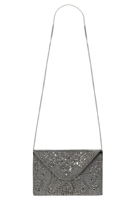 Bag Clutch Bag 16 silver beaded occasion clutch bag with chain